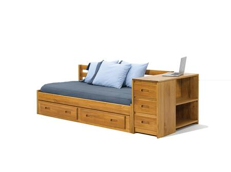 Chelsea Home Furniture 36300X Day Bed with Reversible End Storage, Pine Construction, Rustic Style, and Stain Finished in Honey