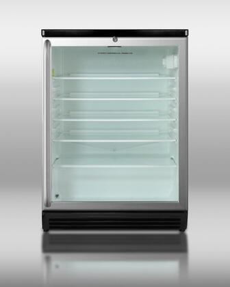 """Summit SCR600BLSHxADA 24"""" Commercially Approved Freestanding Beverage Center with 5.5 cu. ft. Capacity, 4 Glass Shelves, Automatic Defrost, Double Pane Glass Door, and Lock, in Stainless Steel"""