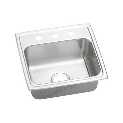 """Elkay LRADQ1918400 19"""" Top Mount Self-Rim Single Bowl 18-Gauge ADA Compliant Stainless Steel Sink"""