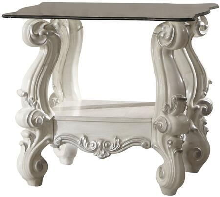 Acme Furniture 8210E Versailles Square End Table with 10mm Tempered Clear Glass Top, Beveled Edges, Scroll Legs and Bottom Shelf in
