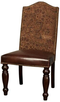 "Home Trends & Design Sofia ZWSF73 44"" Dining Room Chair with Nail Head Trim, Tapered Legs, Upholstered Leather Seat and Tapestry Back Upholstery in Color"
