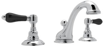 Rohl A1408LPBK Italian Country Bath Collection Viaggio Deck Mounted C-Spout Lavatory Faucet with 1.2 GPM Water Flow and Black Porcelain Levers in