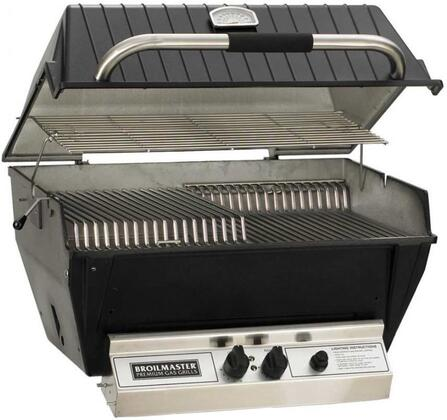 """Broilmaster P4XFx 24"""" Premium Series Built-In Grill with 473 sq. in. Grilling Surface, 2 Bowtie Burners, Warming Rack, and Aluminum Construction, in Black"""