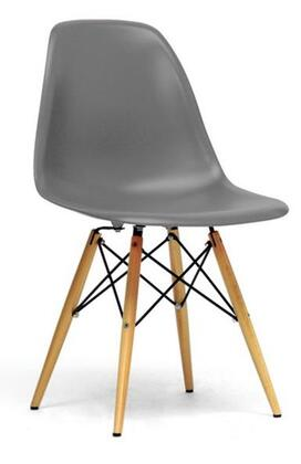 Wholesale Interiors Baxton Studio DC231A Azzo Modern Shell Chair with Wooden Dowel Tapered Legs, Molded Plastic Seat, Steel Hardware and Non-Marking Feet