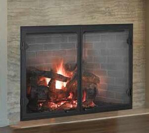 """Majestic SB1 Biltmore 50"""" Radiant Wood Burning Fireplace with 1,650 sq. in. Viewing Area, Dual Gas Knockouts, and Full Refractory Firebox"""