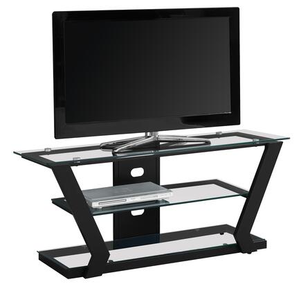 "Monarch I258XTV 48"" TV Stand with Tempered Glass Shelves and Metal Frame in"