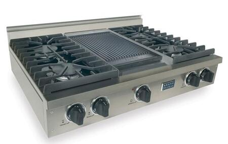 "FiveStar TTN0377 36"" Sealed Burner Pro-Style Natural Gas Rangetop With 4 Sealed Ultra High-Low Burners, Double Sided Grill/Griddle, Porcelain-Vovered Cast Iron Grates, In"