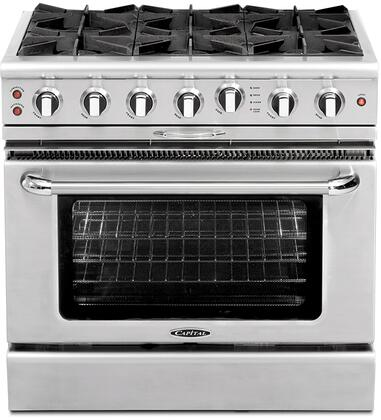 "Capital CGSR366N 36"" Culinarian Series Gas Freestanding Range with Open Burner Cooktop, 4.6 cu. ft. Primary Oven Capacity, in Stainless Steel"