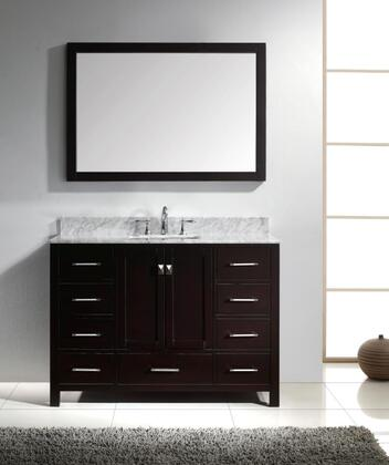 "Virtu USA GS-50048 Virtu USA 48"" Caroline Avenue Single Sink Bathroom Vanity in Espresso with Italian Carrara White Marble"