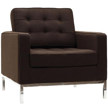 Modway EEI184CHC Loft Series Fabric Armchair with Metal Frame in Chocolate Brown