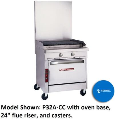 "Southbend P32CC Platinum Series 24"" Sectional Charbroiler Range with All Stainless Steel Construction and Four Standard Burners, Up to 80000 BTUs (NG)/72000 BTUs (LP)"