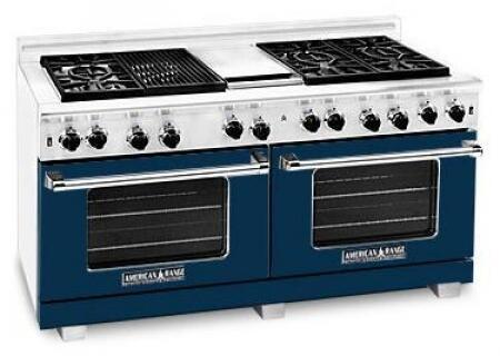 American Range ARR6062GDLDB Heritage Classic Series Liquid Propane Freestanding Range with Sealed Burner Cooktop, 4.8 cu. ft. Primary Oven Capacity, in Dark Blue