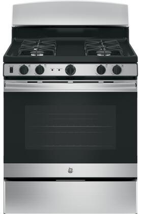 "GE JGB450DEK 30"" Freestanding Gas Range with 5 Cu. Ft. Oven Capacity, Precise Simmer Burner, Black Matte Steel Grates, Self-Clean Oven, 4 Sealed Burners, and In-Oven Broil:"