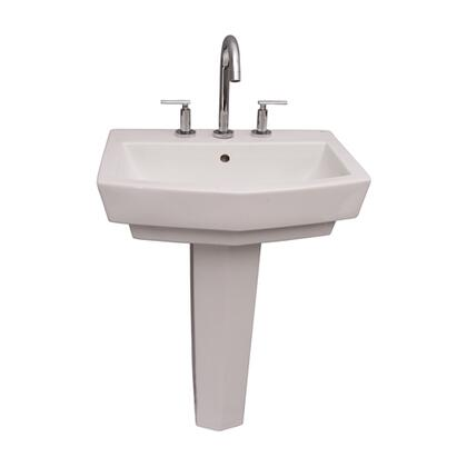 """Barclay 3-78WH Credenza 600 Pedestal Lavatory, with Pre-drilled Faucet Hole, 6.875"""" Basin Depth, and Vitreous China Construction, in White"""