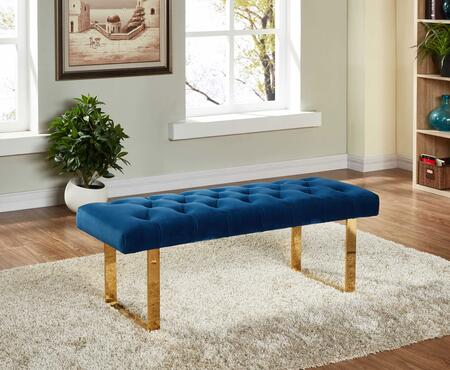 "Meridian Ethan Collection 114X 48"" Bench with Velvet Upholstery, Tufted Seat Cushion, Stainless Steel and Contemporary Style in"