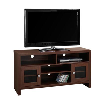 """Monarch I27048TV 47"""" TV Stand with 2 Glass Doors with Adjustable Shelves, 4 Open Shelves and Wire Holes in"""