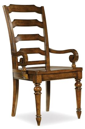"Hooker Furniture Tynecastle Series 5323-753 43"" Traditional-Style Dining Room Ladderback Chair with Turned Legs, Tapered Legs and Wood Frame in Warm Chestnut-Colored Alder"