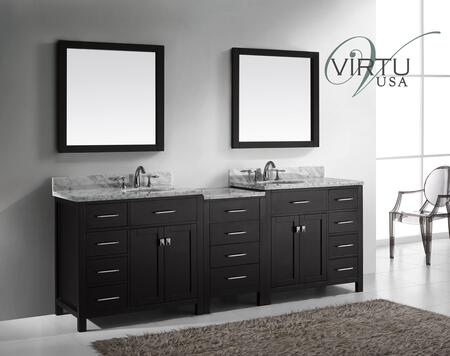 "Virtu USA MD-2193 Sink 93"" Caroline Parkway Double X Sink Bathroom Vanity with Italian Carrara White Marble Countertop, 2 Framed Mirrors, 4 Doors and 12 Drawers in"