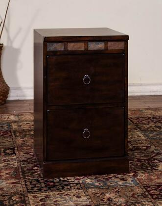 "Sunny Designs Santa Fe Collection 2863DC-X 19"" File Cabinet with Natural Slate Accents, X Drawers and Full Extension Glides in Dark Chocolate Finish"