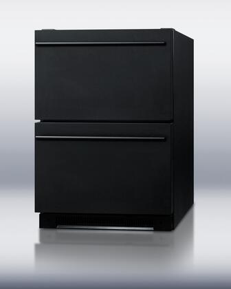 "Summit SP5DS2D 24"" 5.4 cu. ft. Capacity Built-in Drawer Refrigerator, Digital Thermostat, Auto Defrost, Enamel Steel Interior, LED Lighting:"