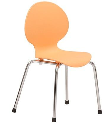 ITALMODERN L3290ORG Bunny-PP Junior Series Modern Not Upholstered Metal and Plastic Frame Dining Room Chair