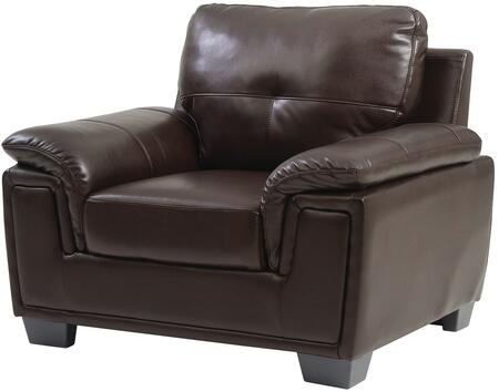 "Glory Furniture 45"" Armchair with Tufted Back, Padded  Arms, Tapered Legs and Glove Soft Top Grade ""Air"" Faux Leather"