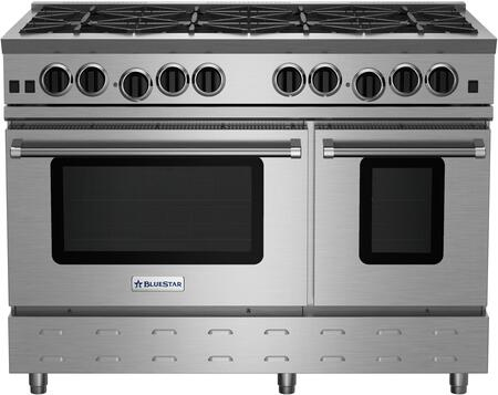 "BlueStar RNB488BV RNB Series 48"" Freestanding Gas Range with 8 Cast Iron Open Burners, Convection Oven, Simmer Burner, Full Motion Grates and Stainless Steel Drip Trays"