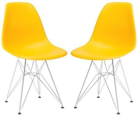 EdgeMod EM104CRMYELX2 Padget Series Modern Metal Frame Dining Room Chair