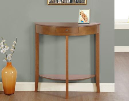"""Monarch I 312Z 31"""" Stylish Console Table with Flared Solid Wood Legs and Demi Lune Shape in Dark Cherry"""