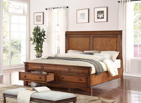Legends Furniture Parliament Collection ZPAR-700BED Panel Bed with Footboard Storage in Hazelnut Finish