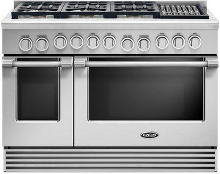 "DCS RGV2486GL 48"" Gas Range with 5.3 Cu. Ft. Primary Oven Capacity, 6 Sealed Dual Flow Burners, Grill, Convection Bake Function, and Flat Vent Trim: Stainless Steel"