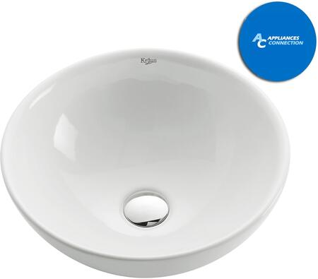 Kraus KCV141X White Ceramic Series Round Ceramic Vessel Sink with Included Pop-up Drain