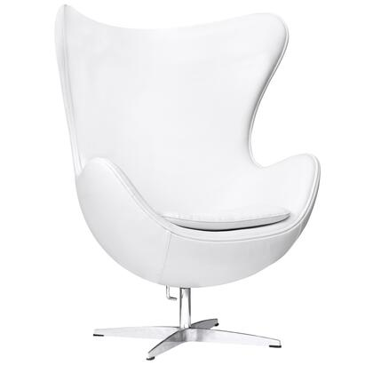 Fine Mod Imports FMI1131WHITE Inner Series Armchair Leather Fibre glass Frame Accent Chair