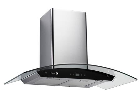 """Fagor Crystal 60CFG-B XX"""" Chimney Wall Mount Range Hood With 600 CFM Internal Blower, 3 Speed Settings, Shut Off Delay Button, Two 20 W Halogen Lights, Black Glass, In Stainless Steel"""