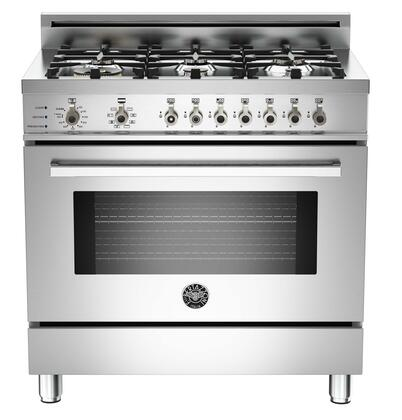 """Bertazzoni PRO366DFSX 36"""" Professional Series Dual Fuel Freestanding Range with Sealed Burner Cooktop, 4.0 cu. ft. Primary Oven Capacity, in Stainless Steel"""