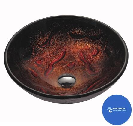 "Kraus CGV71012MM15ORB Multicolor Series 17"" Lava Round Vessel Sink with 12-mm Tempered Glass Construction, Easy-to-Clean Polished Surface"