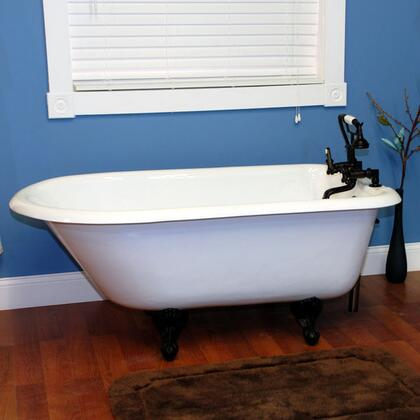 """Cambridge RR55338WH Cast Iron Rolled Rim Clawfoot Tub 55"""" x 30"""" with 3 3/8"""" Bathtub Wall Faucet Drillings"""