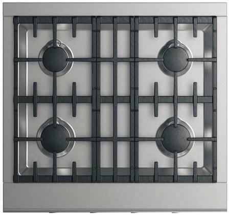 "DCS CPV2-304 30"" Professional Cooktop with 4 Sealed Dual Flow Burners, Continuous Surface Grates, Halo-Illuminated Dials, and Easy to Clean: Stainless Steel"