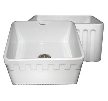 "Whitehaus WHFLATN2018 20"" Reversible Series Fireclay Sink with Athinahaus Front Apron One Side, Fluted Front Apron on Opposite Side"