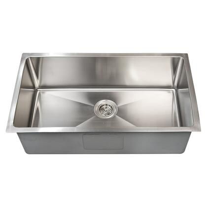 "Barclay KSSSB216 Fayban 32"" Stainless Steel Rectangular Single Bowl Undermount Kitchen Sink with Matte Finish and Coating for Sound Insulation:"