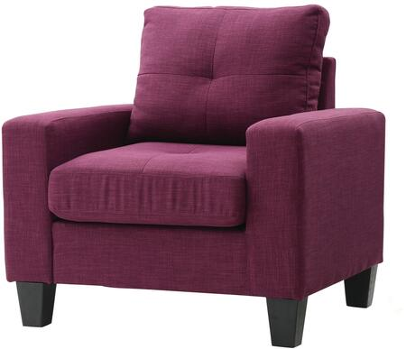 Glory Furniture G471AC Newbury Series Faux Leather Armchair in Berry