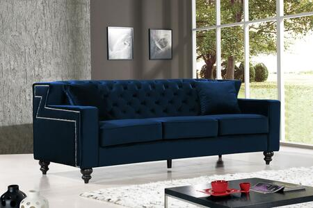 """Meridian Harley Collection 616X-S 86"""" Sofa with Velvet Upholstery, Tufted Back, Silver Nailheads and Contemporary Style in"""