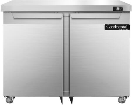 """Continental Refrigerator SW36Ux 36"""" Undercounter Refrigerator with Solid Doors, Automatic, Energy Saving, Non-electric Condensate Evaporator, Door Locks and Expansion Valve System, in Stainless Steel"""