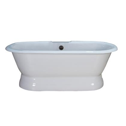 "Barclay CTDR7H60B Conrad 60"" Cast Iron Double Roll Top Tub with Base and White Enamel Interior, in:"