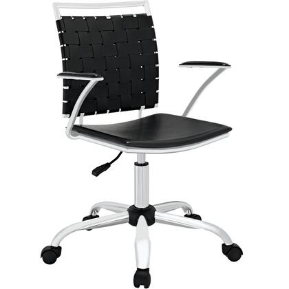 Modway EEI-1109 Fuse Office Chair with Modern Design, Height Adjustable, Five Dual-wheeled Hooded Casters, PVC Webbing, Foam Cushion, and Chrome Plated Base