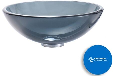 "Kraus CGV10412MM1005 Singletone Series 17"" Round Vessel Sink with 12-mm Tempered Glass Construction, Easy-to-Clean Polished Surface, and Included Riviera Faucet, Clear Black Glass"