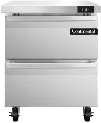 "Continental Refrigerator SWF2 27"" Worktop Freezer with 7.4 Cu. Ft. Capacity, Stainless Steel Exterior and Interior, 5"" Casters, Interior Hanging Thermometer, and Environmentally-Safe Refrigerant, in Stainless Steel"