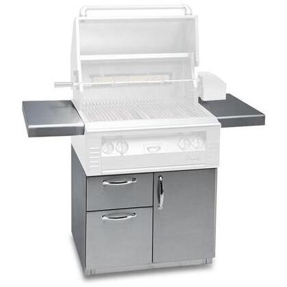 "Alfresco ALXCD XX"" Freestanding Deluxe Grill Cart with Single Access Door, Double Access Drawers, Stainless Steel Construction, 2 Side Shelves, and Caster Wheels in Stainless Steel"