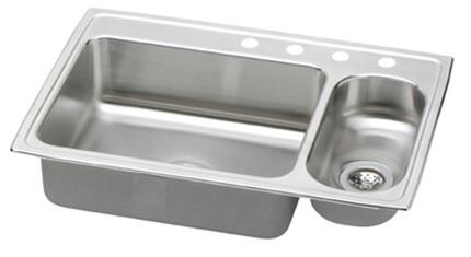 """Elkay PSMR3322R Gourmet Pacemaker Stainless Steel 33"""" x 22"""" Double Basin Top Mount Kitchen Sink with Right Primary Bowl:"""