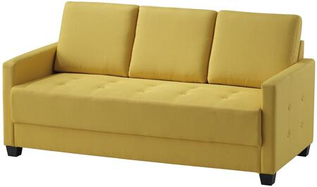 """Glory Furniture 66"""" Sofa with Button Tufting, Track Arms, Tapered Legs, Removable Back and Twill Fabric Upholstery in"""